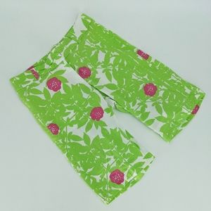 Marimekko Green Pink Floral Cotton Bermuda Shorts